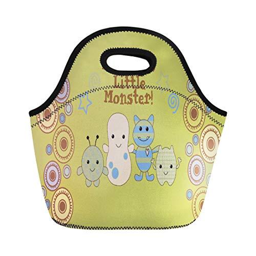 (Ablitt Lunch Bags Cocalo Little Monsters for Nursery Peek Boo Baby Peeking neoprene lunch bag lunchbox tote bag portable picnic bag cooler bag )