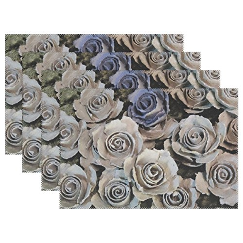 AIKENING Sound Art Flowers Sculpture Artwork Placemats Set Of 4 Heat Insulation Stain Resistant For Dining Table Durable Non-slip Kitchen Table Place Mats -