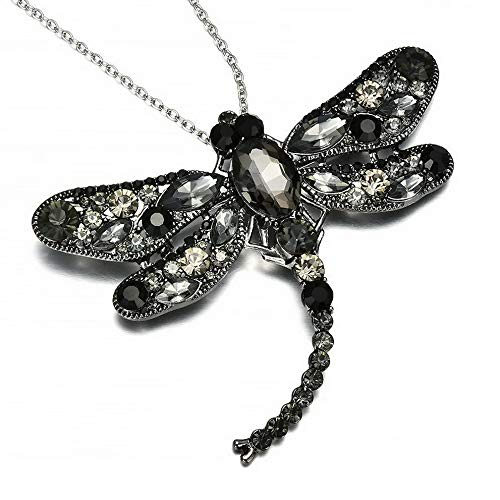 Dragonfly Pin Onyx - Hebel Fashion Rhinestone Crystal Dragonfly Long Chain Brooch Pin Necklace Jewelry Gift | Model NCKLCS - 32247 |