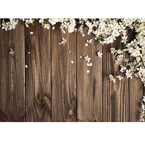 LYWYGG 7x5FT Spring Photography Backdrop Spring Petals Wooden Plank Background for Birthday Party Newborn Studio Props ()