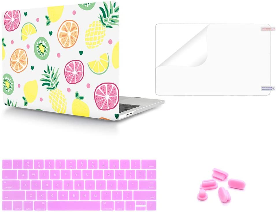 WYGCH 4 in 1 Grapefruit Plastic PC Hard Case Shell+ Keyboard Cover+ Screen Protector+ Dustproof Plug Compatible MacBook Pro 13 Case 2019 2018 2017 2016 Release A2159/A1989/A1706