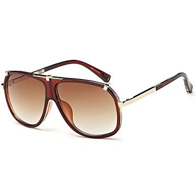8c90d0fab56 Retro Oversized Pilot Sunglasses Men Women Drive Glasses Gold Silver Metal  Frame Gradient Lens  Amazon.co.uk  Clothing