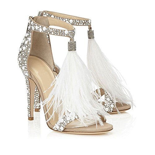 AZMODO Women's Feather Ankle Strap Zip Rhinestone High Heeled Sandals 1622-74 (US 8.5/EU 39/CN 40), White ()
