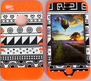 iphone covers fashion case Cellphone Trendz Hybrid High Impact Bumper case cover Black & White Aztec Tribal / Orange Silicone for Apple iPhone 5c Jr5XDkGD5z0 iPhone 5c