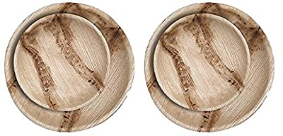 CaterEco Round Palm Leaf Plates Set (50 Pack) | (25) Dinner Plates and (25) Salad Plates | Ecofriendly Disposable Dinnerware | Heavy Duty Biodegradable Party Utensils for Wedding