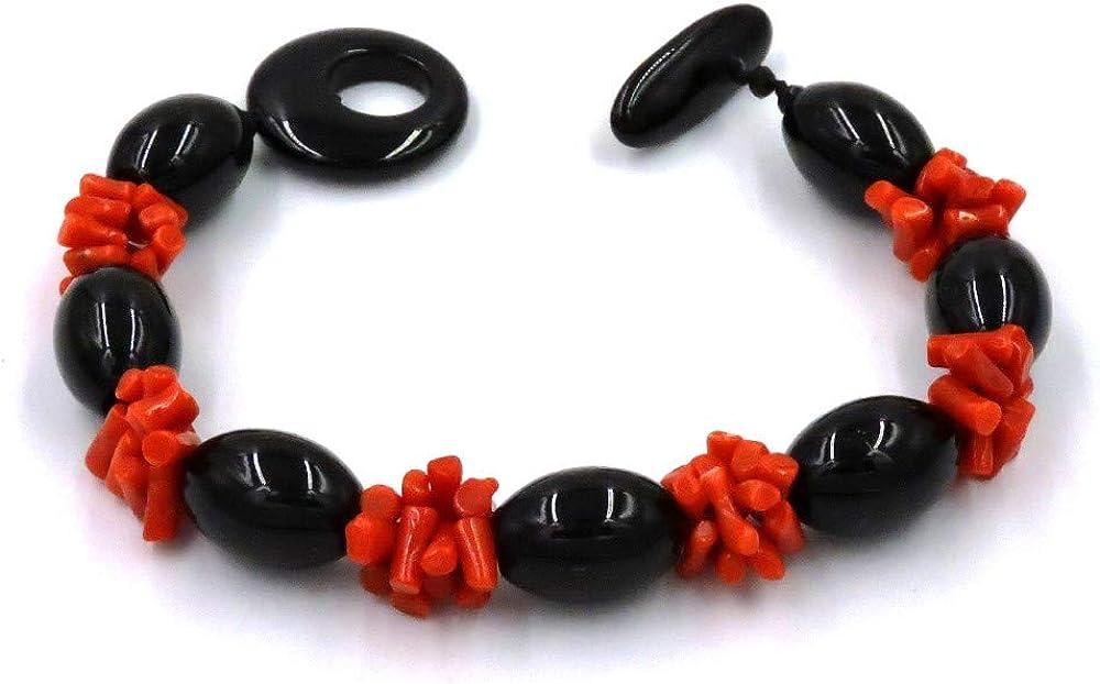 Jadì Gioielli Pulsera con coral rojo y piedras de ónix ovaladas
