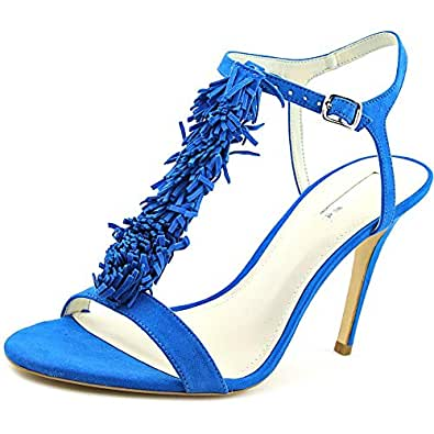 BCBGeneration Womens Clue Open Toe Special Occasion Leather T-Strap Sandals, Blue, Size 5.5