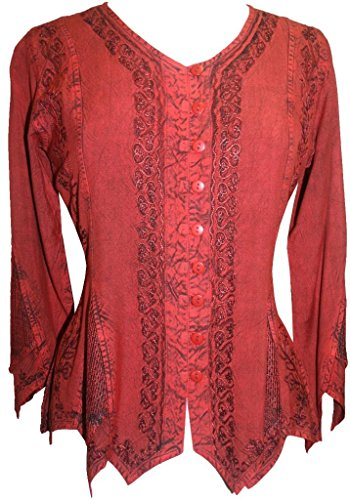 Tp Sleeve (Agan Traders 107 TP Gypsy Medieval Top Blouse [B. Red; Large])