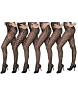 Isadora Paccini Women's 6-Pack Fishnet Lace Pantyhose Tights