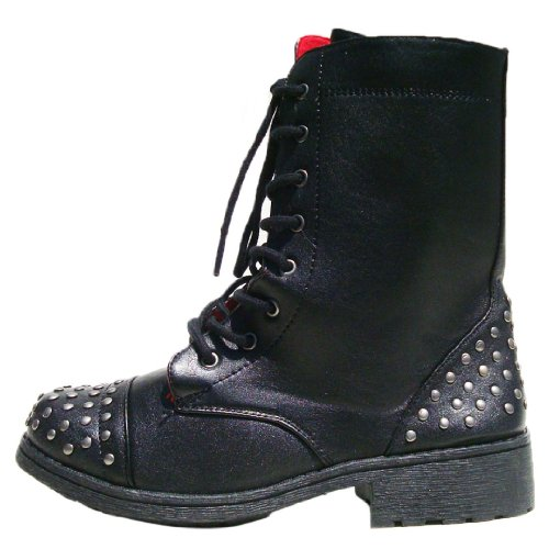 Qupid Women's Missile08 Leatherette Studded Lace Up Military Bootie