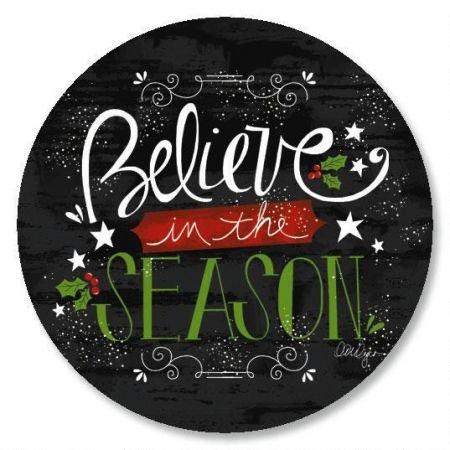 (Believe In The Season Christmas Envelope Seals - Set of 144 1-1/2 diameter Self-Adhesive, Flat-Sheet holiday sticker Seals)