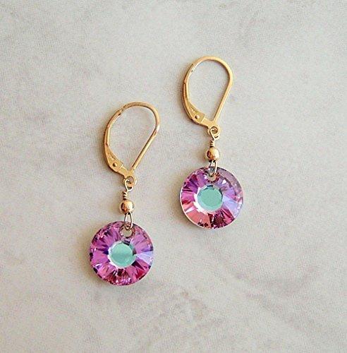 Sun Disc Earring (Purple Sun Disc Crystal Gold Filled Leverback Earrings Teen Girl Women Graduation Her Special Day Gift Idea)