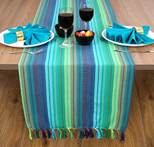 Ramanta Home 2 Pack Salsa Stripe 100% Cotton Table Runner with Decorative Fringes 16x90 Hand Woven by Skilled Artisans - Teal Multi