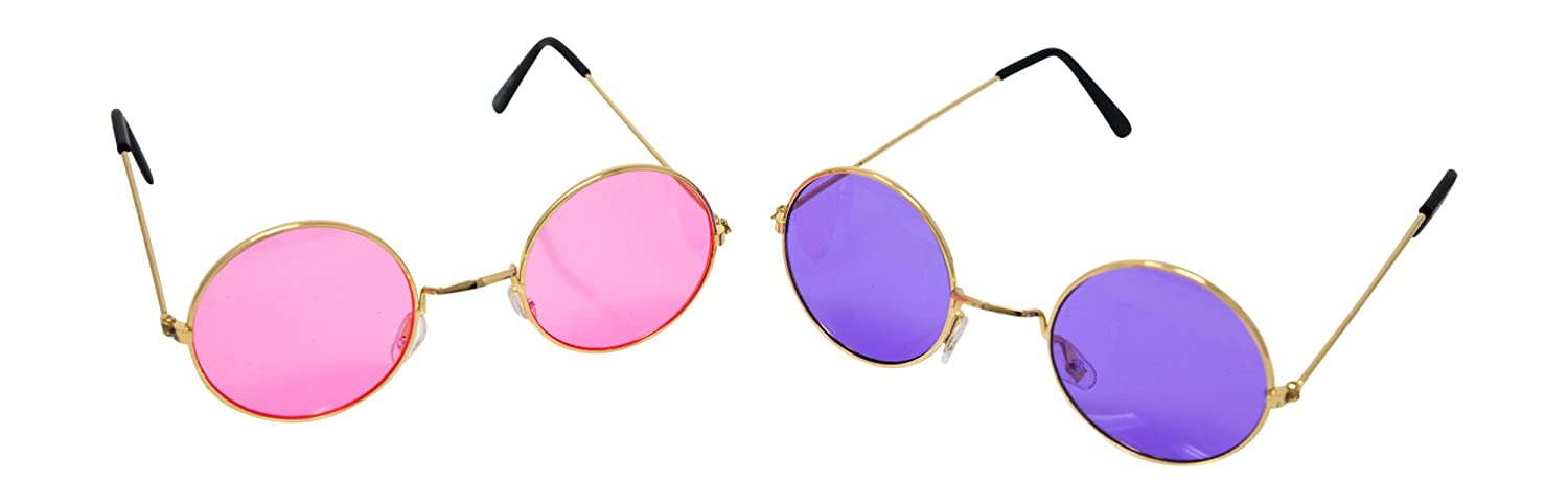 df619f0d146f John Lennon Circle Hippie Sunglasses: 2 Pair (1 Purple & 1 Pink) of 60s  Glasses at Amazon Women's Clothing store: