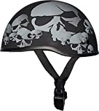 Bikerhelmets.com -  SkullNation SOA Inspired Motorcycle Helmet - DOT Approved Ultra Low Profile Beanie - Flat