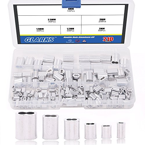 Glarks 210Pcs 6 Size Aluminum Double Barrel Ferrule Crimping Loop Sleeve for Wire Rope and Cable Line End Assortment Kit ()