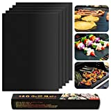 BBQ Grill Mat Set of Five Non-stick Baking Mats Heat Resistant, Durable, Reusable, Easy-to-Clean Barbecue Mat for Baking Gas, Charcoal and Electric Grill 16'' x13'' (Black Mat)