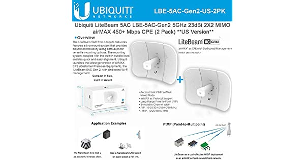 Amazon.com: Ubiquiti LiteBeam Gen 2 LBE-5AC-Gen2-US 2X2 MIMO ...