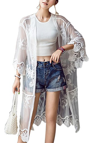 Swimsuit Coverup Lace Kimono Cardigan Casual Beach Coverup for Leggings Or Jeans (One Size, 10-White)