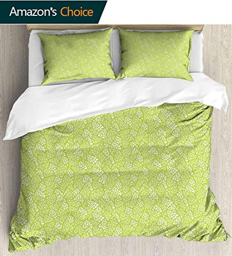 shirlyhome Green Kids Quilt 3 Piece Bedding Set,Abstract Stylized Leaves Fresh Nature Eco Growth Foliage Theme Healthy Organic Bedding Sets,1 Duvet Cover,1 Pillowcase 80