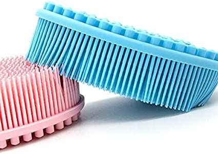 Blue Losuya Silicone Baby Shampoo Brush Baby Massage Brushes Bath Brush for Children and Kids