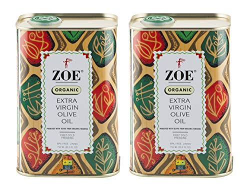 Zoe Organic Extra Virgin Olive Oil 25.5 FL. OZ. tins (Pack of 2), Organic Spanish Extra Virgin Olive Oil, First Cold Pressing of Spanish Cornicabra Olives, Delicate Aromatic Buttery Flavor, ()
