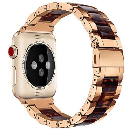 Price comparison product image For Apple Watch Bands 38mm - V-Moro Luxury Metal Stainless Steel iWatch Bands Strap with Resin Wristbands Bracelet for Apple Watch Series 3,Series 2,Series1(Tortoise/Copper, 38mm)