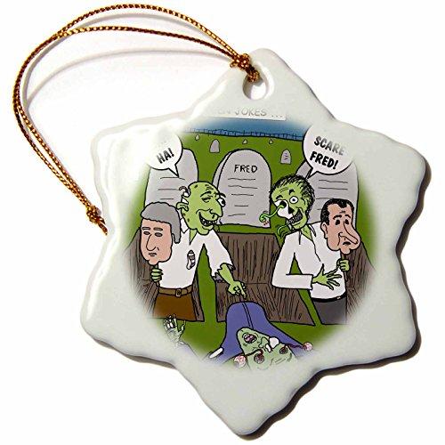 3dRose Halloween - Zombie Practical Jokes - Clinton and Nixon Masks Snowflake Ornament 3