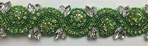 ModaTrims Hot-Fix or Sew-On Beaded Crystal Rhinestone Trim by Yard for Bridal Belt Wedding Sash (Apple-Green Rhinestone Crystals, Large Clear Crystals, Gold Cups, 1 Yard x 1.5 Inch Wide) ()