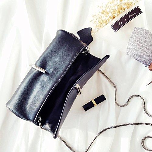 Para Mujer De Cuero Embrague Moda Color Sólido Metal Clips La Bolsa De La Cadena Black