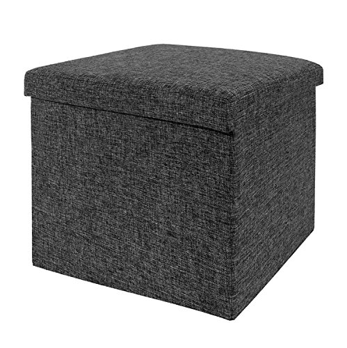 Seville Classics Foldable Storage Ottoman, Charcoal Gray Ash Leather Sofa