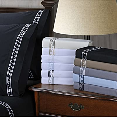 Luxor Treasures Super Soft Light Weight, 100% Brushed Microfiber, California King, Wrinkle Resistant, 6-Piece Sheet Set, Black with Grey Regal Embroidery in Gift Box