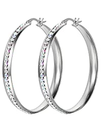 Oidea Stainless steel Womens 50mm Large Circle Hoop Earrings Shiny Colorful Rhinestone Inlaid