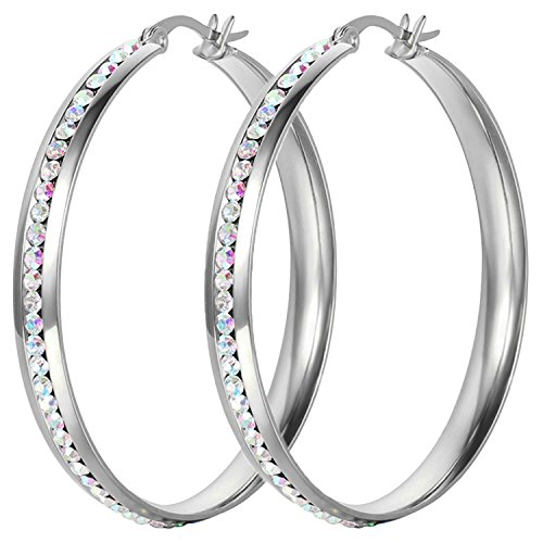 Oidea Stainless steel Womens 50mm Large Circle Hoop Earrings Shiny Colorful Rhinestone Inlaid (Shiny Stainless Steel Earrings)