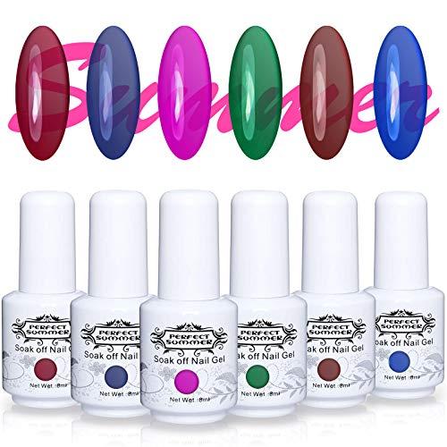 Perfect Summer 6PCS Soak Off UV Gel Glass Polish Translucent Jelly Look 8ML Clear Color Nail Gel Polish Manicure Kit Women Gift Set 049