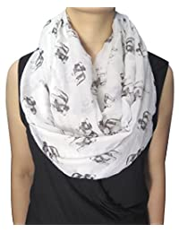 Lina & Lily Sketch of Dogs Print Women's Infinity Scarf Lightweight (Bulldog-White)