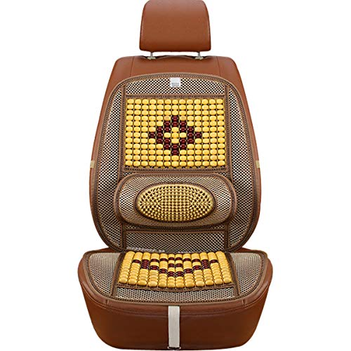 Wood Beaded Comfort Seat Cover with Cooling Ventilated Mesh Lumbar Back Brace Massage Support Cushion for Car Seat Chair ()