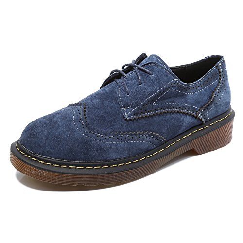 Suede Brogue Shoe - Smilun Women¡¯s Deby Oxford Brogues Shoes Suede Faux Leather Classic Lace-Up Flats Loafer or Women Dark Light Blue Size 7.5 B(M) US