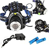 Extreme Popular 3-Modes LED 2000LM Headlamp Flashlight Zoomable Bicycle Lamp Color Black with Battery Charger