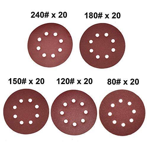 Gocheer Sanding Paper,100 pcs Power Sanding Discs Sanding Set for Orbital Sander Furniture Refinisher