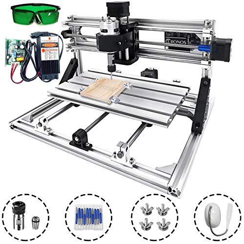 Mophorn CNC Machine 3018 Grbl Control CNC Router Kit 3 Axis PCB Laser Engraver 300X180X45mm With 5500mW Laser Head Module and Lamp (Best Cnc Laser Cutting Machine)