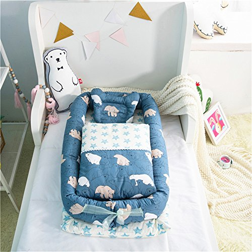 Abreeze Baby Bassinet for Bed -Polar Bear Baby Lounger - Breathable & Hypoallergenic Co-Sleeping Baby Bed - 100% Cotton Portable Crib for Bedroom/Travel