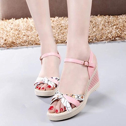Elevin(TM) 2018Women Summer High Wedges Platform Toe High-Heeled Bohemia Sandals Shoes Pink G6a557U3