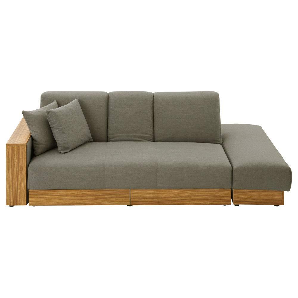 ぼん家具 リクライニング式ソファ ベッド ローソファー 収納テーブル付き 引き出し付き 布地[ファブリック] グレー B0756888WQ