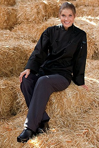 Uncommon Threads 4003-5504 Yarn Dyed Baggy Chef Pant in Black and Grey Houndstooth - Large by Uncommon Threads