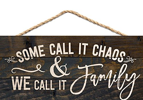 P. Graham Dunn Some Call it Chaos We Call it Family 5 x 10 Wood Plank Design Hanging Sign - Made of real wood Measures Approx. 5 x 10 inches Handmade with wood lath strips and finished with a hanging jute rope - living-room-decor, living-room, home-decor - 51Xwfa1H2fL -