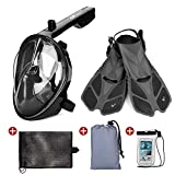 Odoland 5-in-1 Snorkel Set – Full Face Diving Mask(S/M) Compatible with GoPro Mount, Snorkel Fins(S/M), Portable Mesh Bag, Waterproof Case with Daily Backpack – Great Gear for Adults & Youth