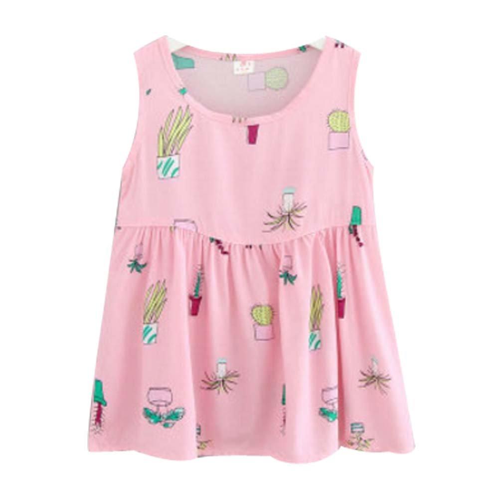 Koala Superstore [H] Kids' Pajama Home Nightdress Sleeveless Cotton Dress Vest Skirt for Girls