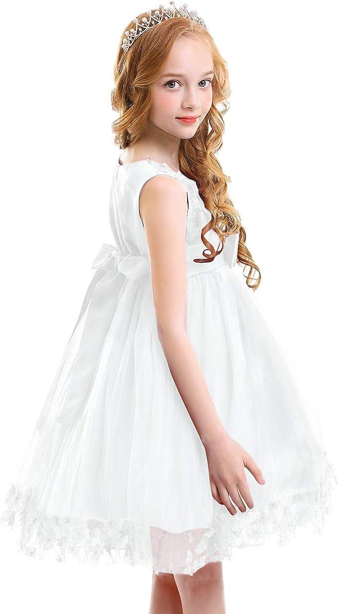 OBEEII Bambine Ragazze Fiore Pizzo Abito Lungo Senza Maniche Elegante Princess Tulle Abito da Nozze Sposa Compleanno Festa Carnevale Danza Cerimonia Sera Vestito 2-13 Anni