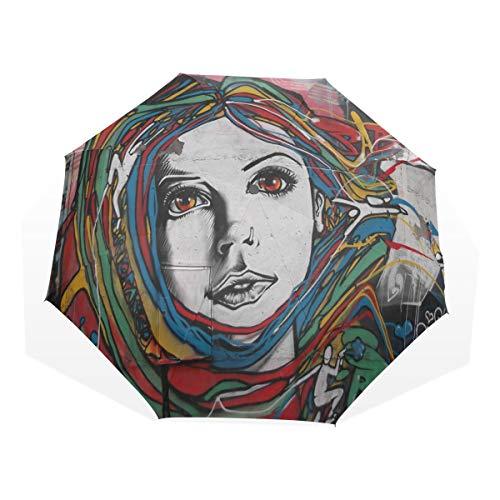 8cd940a3ab6d HangWang Umbrella Where to Find Street Art Paris Travel Golf Sun Rain  Windproof Umbrellas with UV Protection for Kids Girls Boys